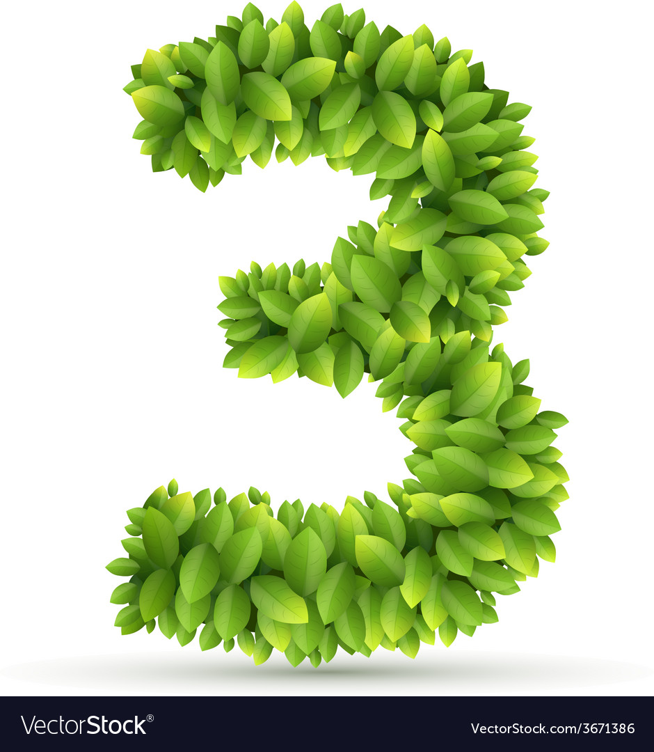 Number alphabet of green leaves vector | Price: 1 Credit (USD $1)
