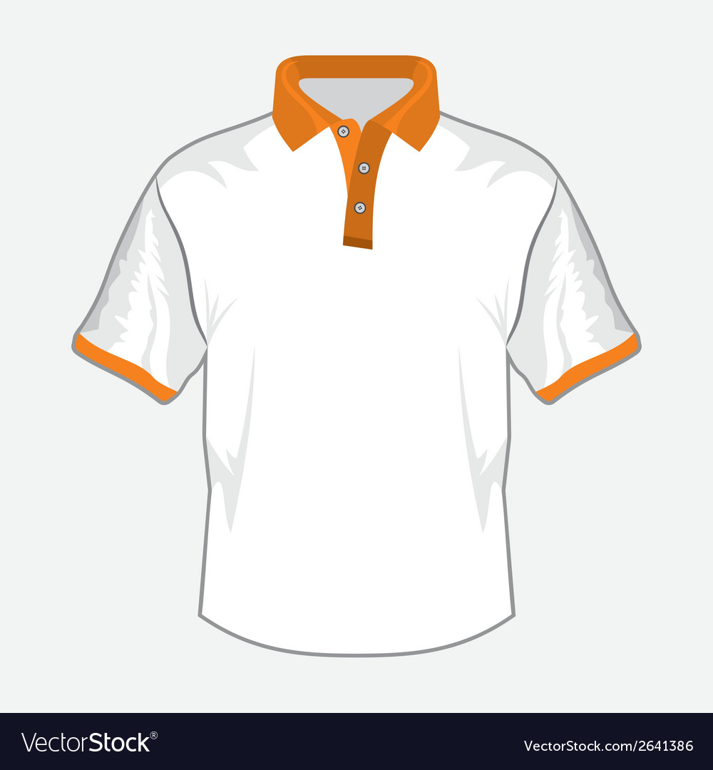 Polo majica bela orange kragna vector | Price: 1 Credit (USD $1)