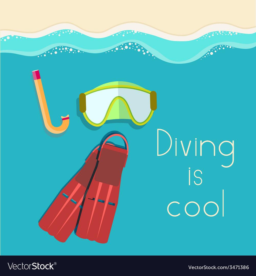 Retro flat diving tools icon concept design vector   Price: 1 Credit (USD $1)