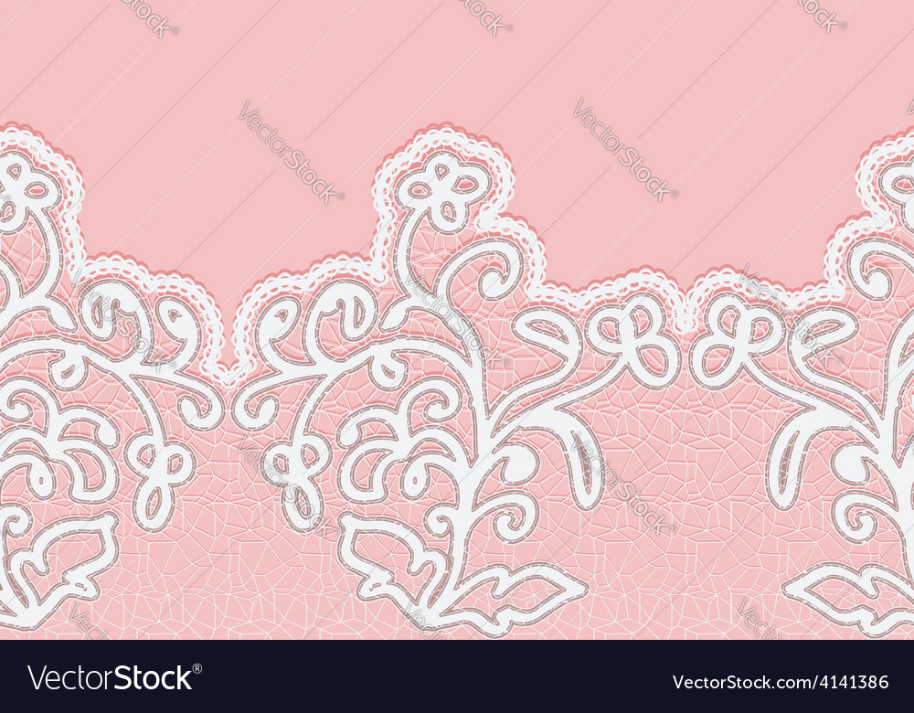 Seamless horizontal lace border with flowers vector | Price: 1 Credit (USD $1)