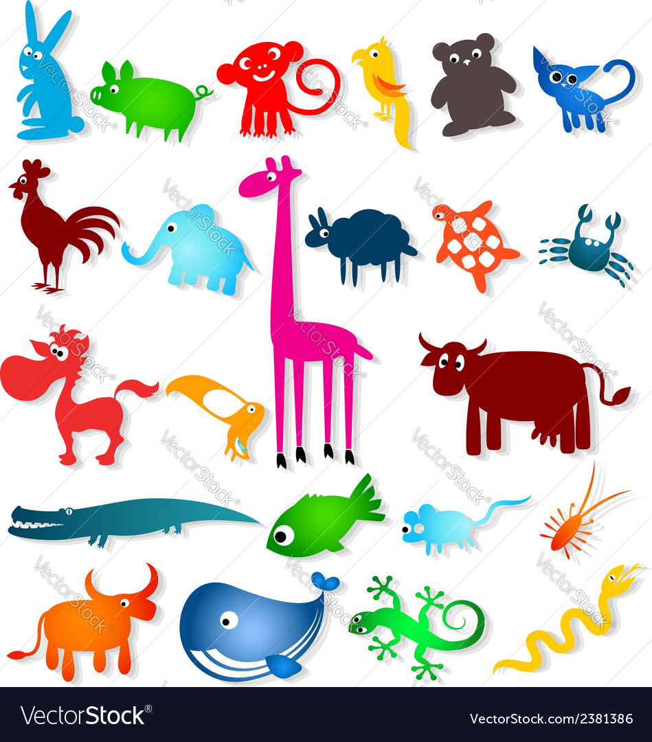 Set cartoony animals vector | Price: 1 Credit (USD $1)