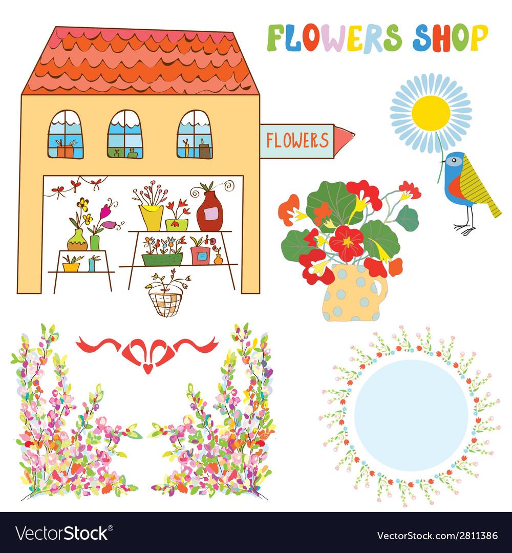 Set for flowers shop - vase bunchs frames bows vector | Price: 1 Credit (USD $1)