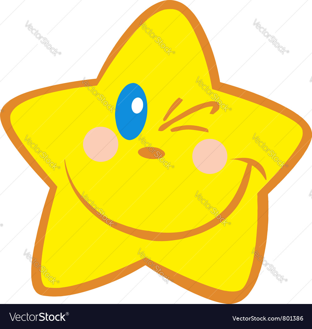 Yellow star winking vector | Price: 1 Credit (USD $1)