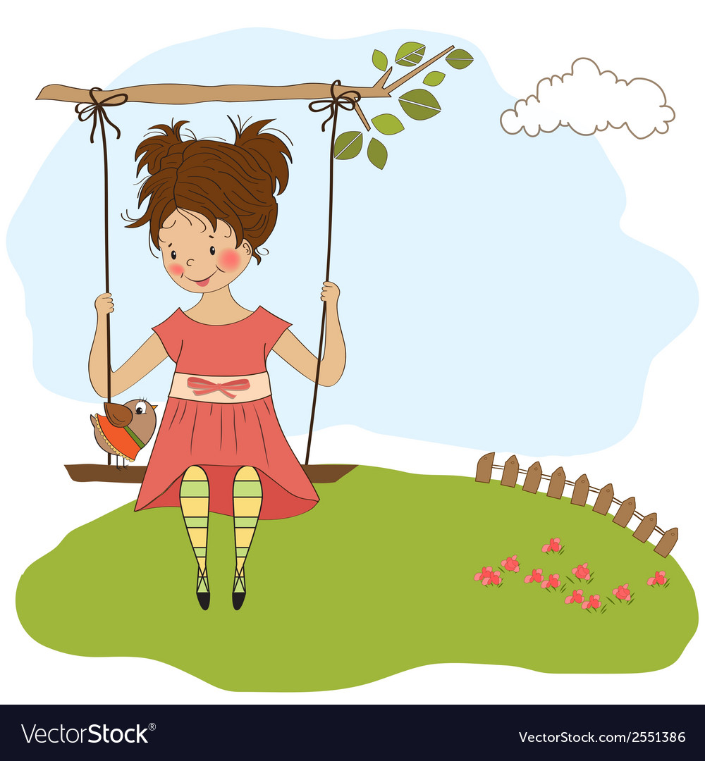 Young girl in a swing vector | Price: 1 Credit (USD $1)