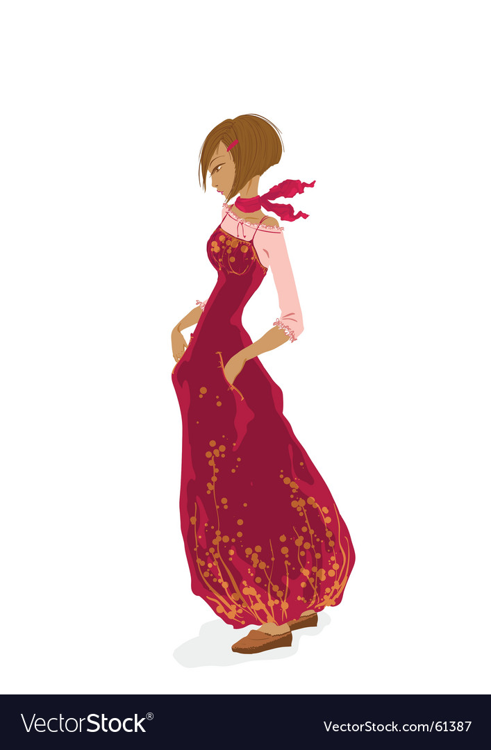 Beautiful young girl in red vector   Price: 5 Credit (USD $5)