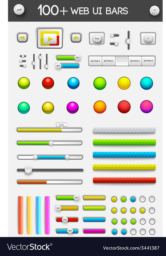 Big collection of web ui elements vector | Price: 1 Credit (USD $1)