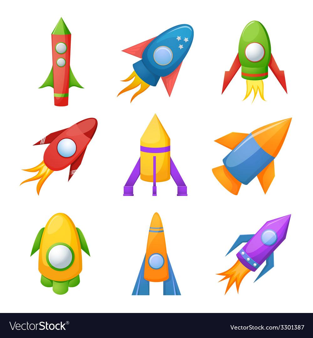 Cartoon rocket 3d set vector | Price: 1 Credit (USD $1)