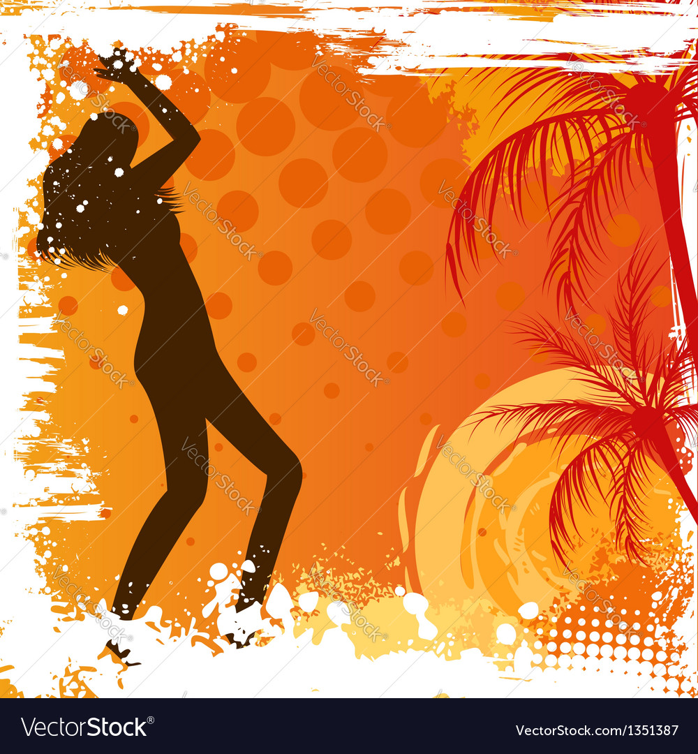 Dancing girl on grunge background vector | Price: 1 Credit (USD $1)