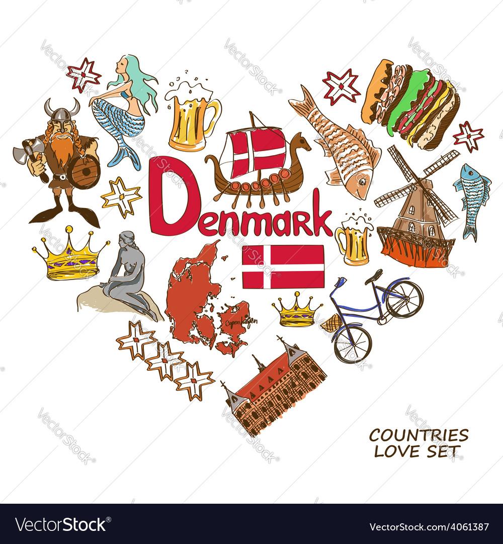 Danish symbols in heart shape concept vector | Price: 1 Credit (USD $1)