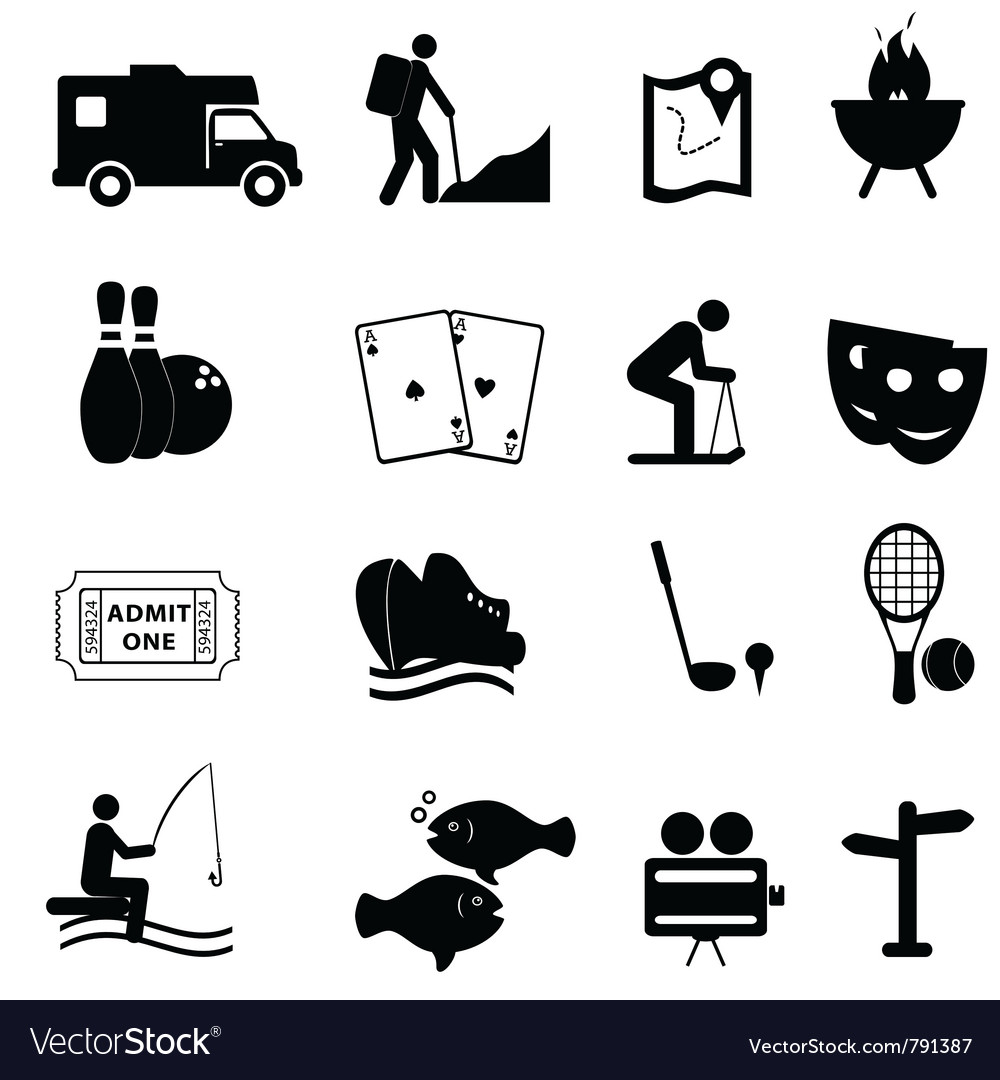 Entertainment and leisure icons vector | Price: 1 Credit (USD $1)
