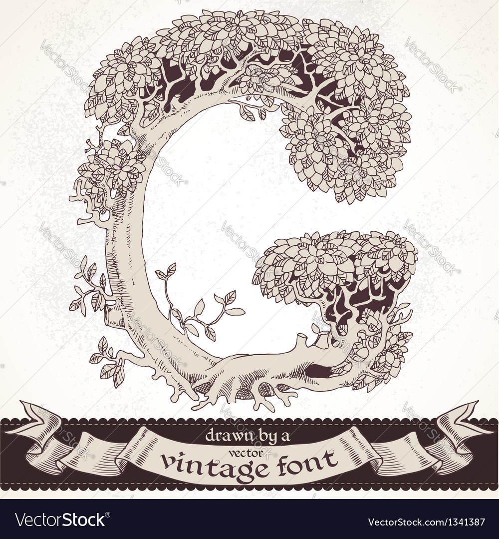 Fable forest hand drawn by a vintage font - g vector | Price: 1 Credit (USD $1)