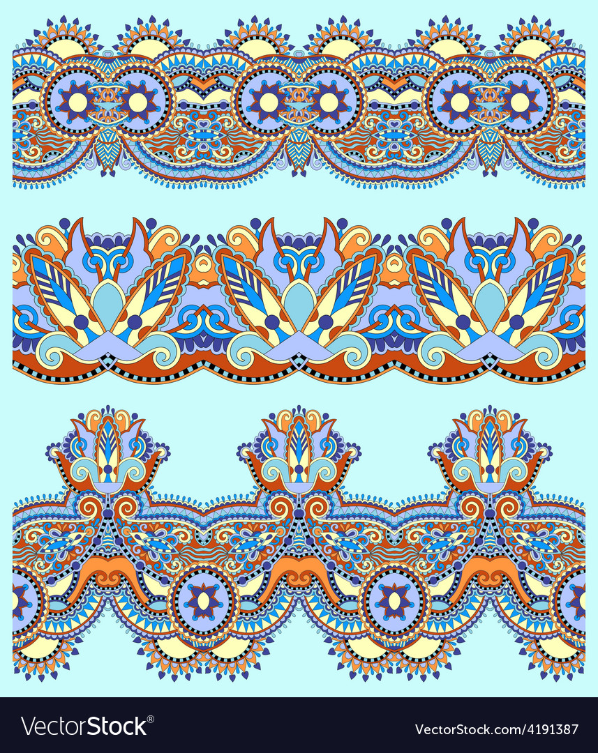 Floral paisley stripe pattern border set vector | Price: 1 Credit (USD $1)