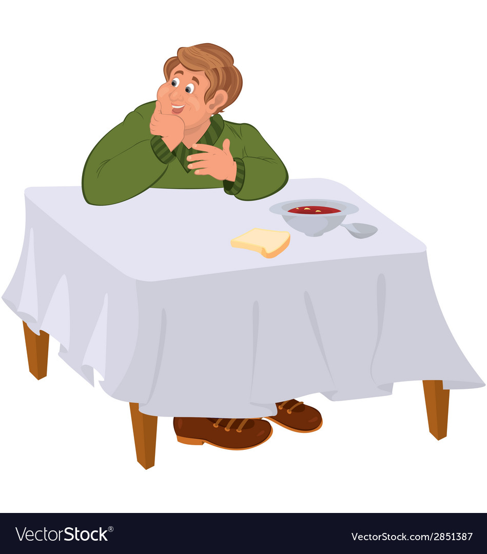 Happy cartoon man eating soup at the table vector | Price: 1 Credit (USD $1)