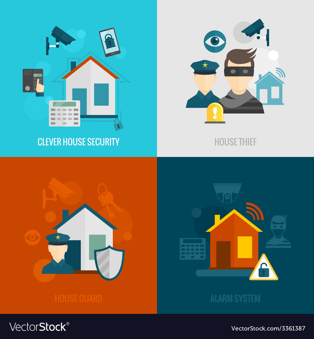 Home security flat set vector | Price: 1 Credit (USD $1)