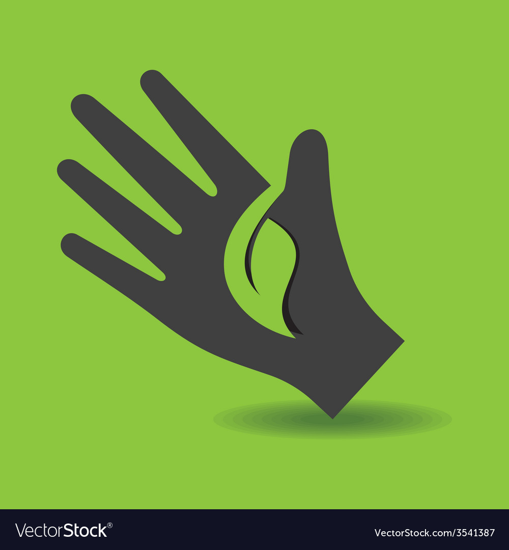 Human hand with green leaf symbol concept vector   Price: 1 Credit (USD $1)
