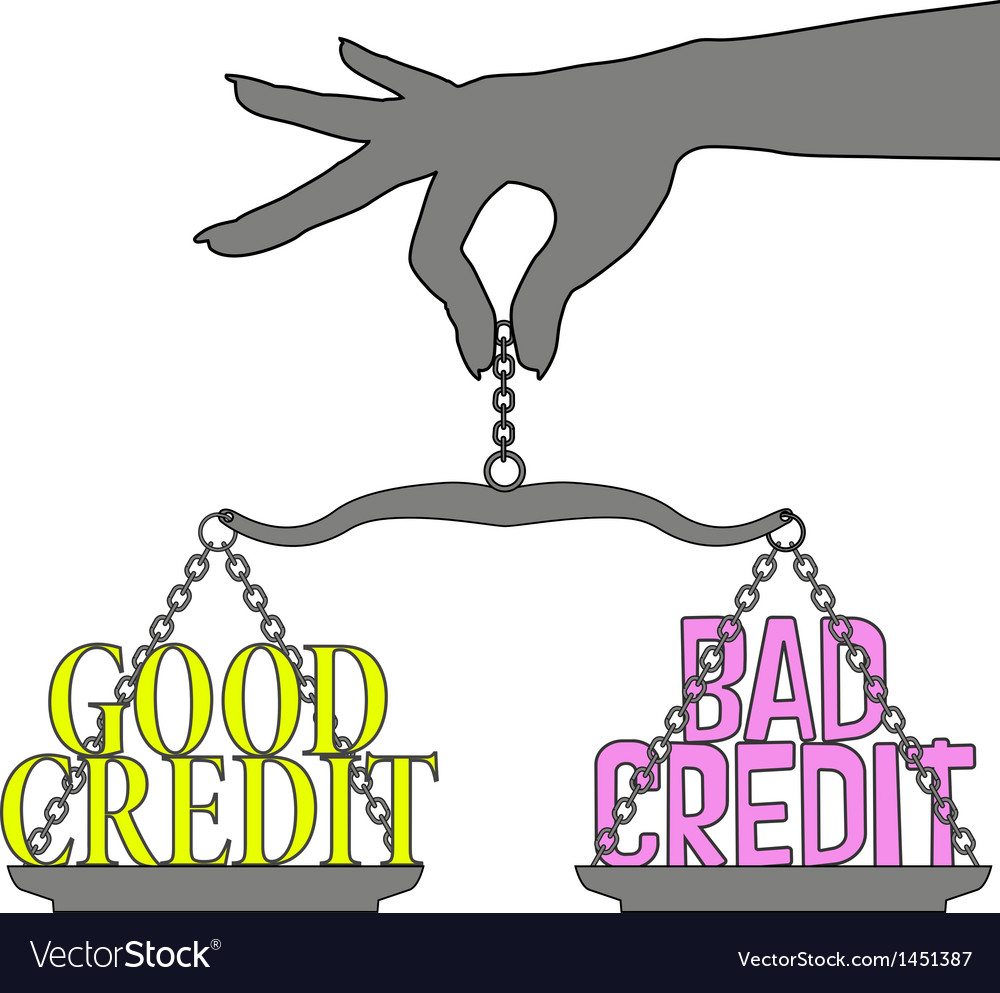 Person good bad credit scales choice vector | Price: 1 Credit (USD $1)