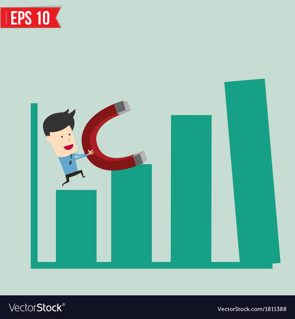 Business man use magnet pull graph - - eps10 vector | Price: 1 Credit (USD $1)
