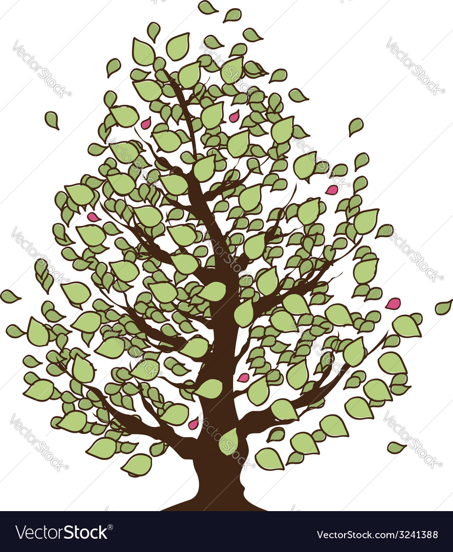 Eco summer tree with green leaves vector | Price: 1 Credit (USD $1)