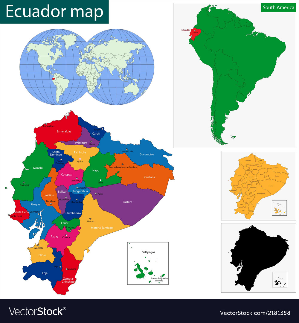 Ecuador map vector | Price: 1 Credit (USD $1)