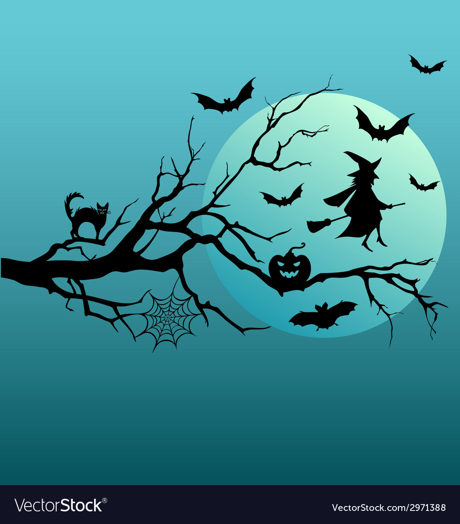 Halloween witch and flying bats vector | Price: 1 Credit (USD $1)