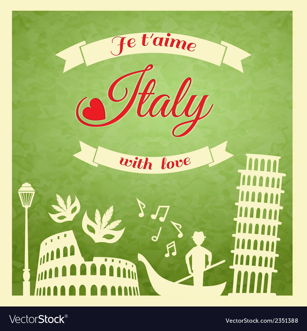 Italy retro poster vector | Price: 1 Credit (USD $1)