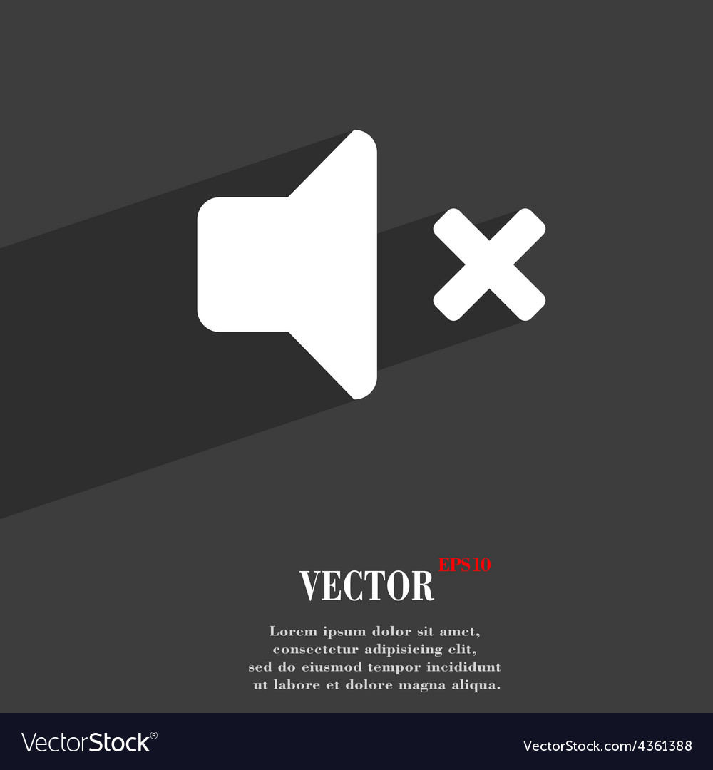 Mute speaker sound icon symbol flat modern web vector | Price: 1 Credit (USD $1)
