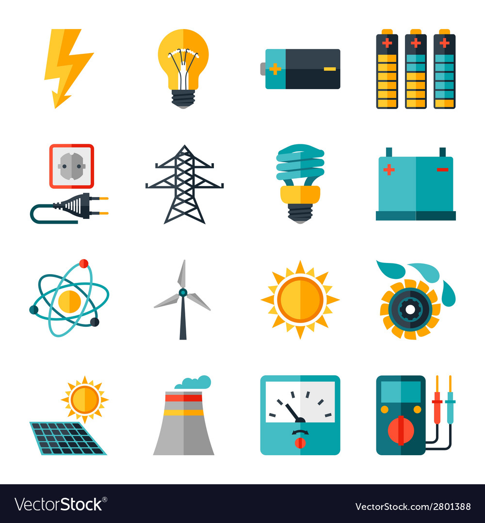 Set of industry power icons in flat design style vector | Price: 1 Credit (USD $1)