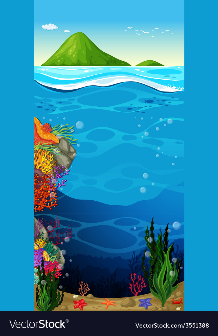 The underwater view of the ocean vector | Price: 3 Credit (USD $3)