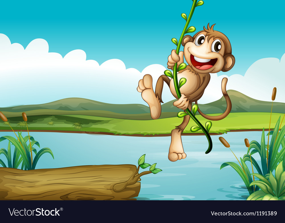 A cheerful monkey playing with the vine plant vector | Price: 1 Credit (USD $1)