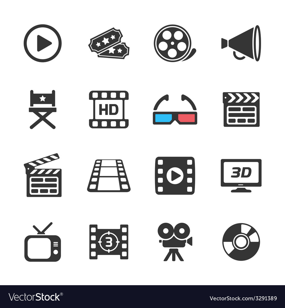 Cinema and movie icons white vector | Price: 1 Credit (USD $1)