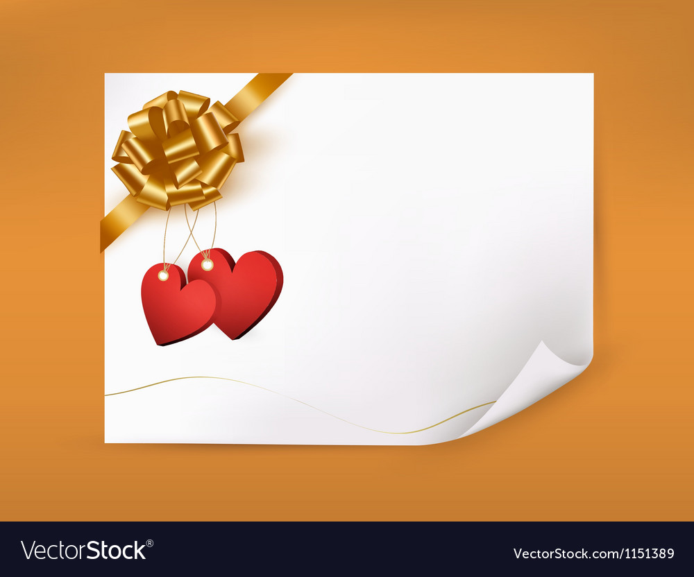 Elegant greeting background with hearts and gold vector | Price: 1 Credit (USD $1)