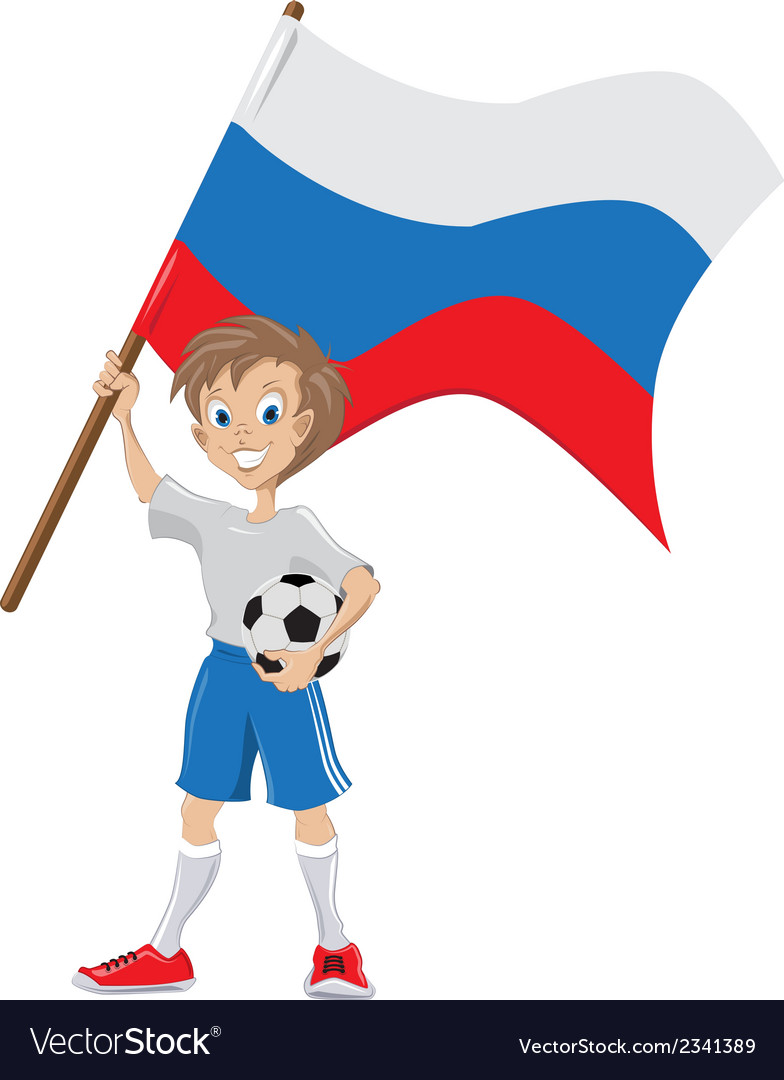 Happy soccer fan holds russian flag vector | Price: 1 Credit (USD $1)