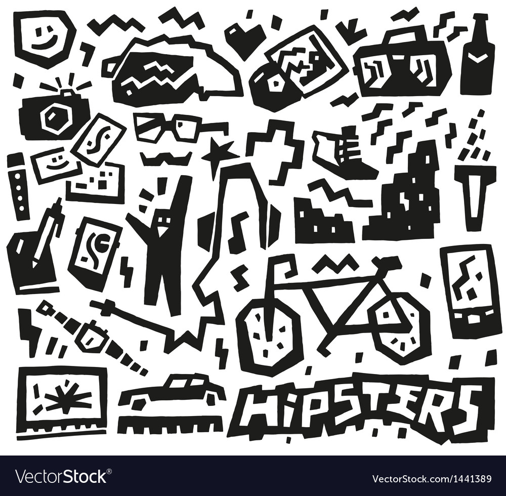Hipsters things - doodles set vector | Price: 1 Credit (USD $1)