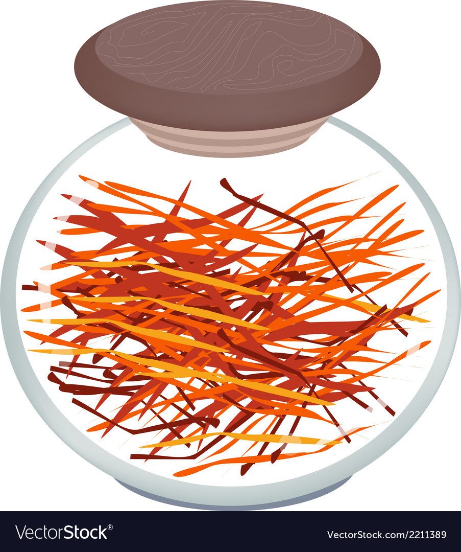 Jar of saffron thread on white background vector | Price: 1 Credit (USD $1)