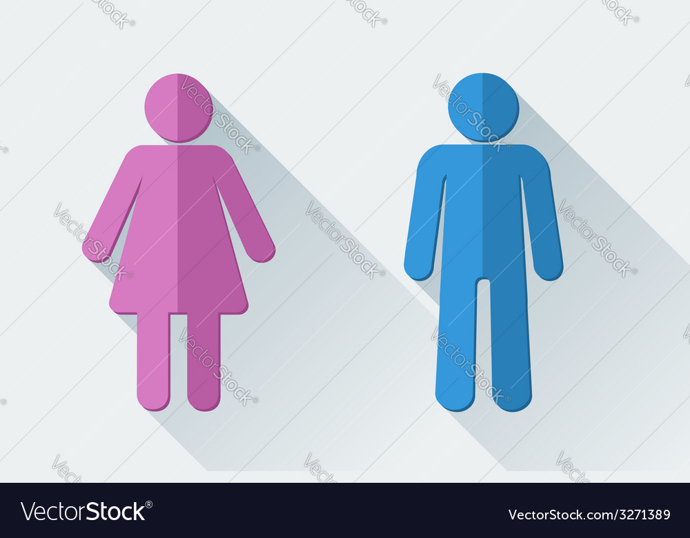 Man and woman toilet symbols in flat style vector | Price: 1 Credit (USD $1)