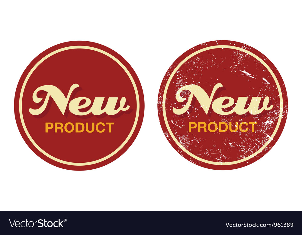 New product red retro badge - grunge style vector | Price: 1 Credit (USD $1)