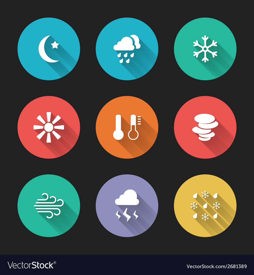 Set of meteorological icons vector | Price: 1 Credit (USD $1)