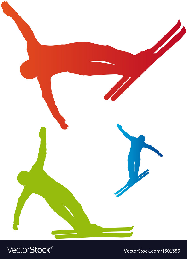 Ski freestyle silhouettes vector | Price: 1 Credit (USD $1)