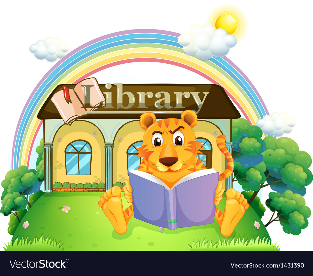 A tiger reading a book outside the library vector | Price: 1 Credit (USD $1)