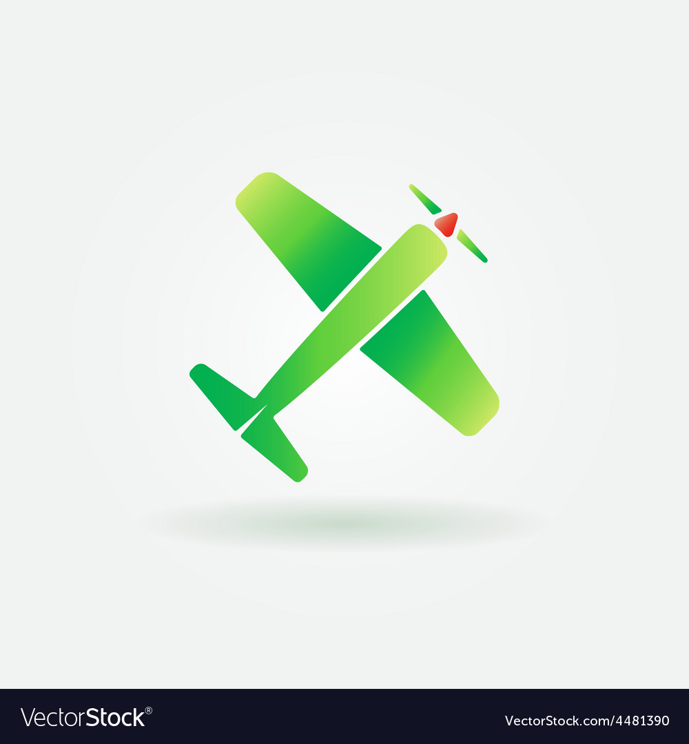 Airplane green sign or icon vector | Price: 1 Credit (USD $1)