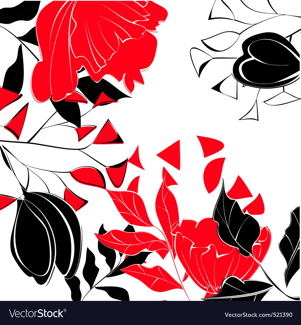 Contrast floral background vector | Price: 1 Credit (USD $1)