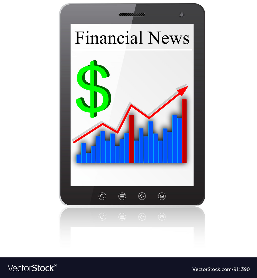 Financial news on tablet pc vector | Price: 1 Credit (USD $1)
