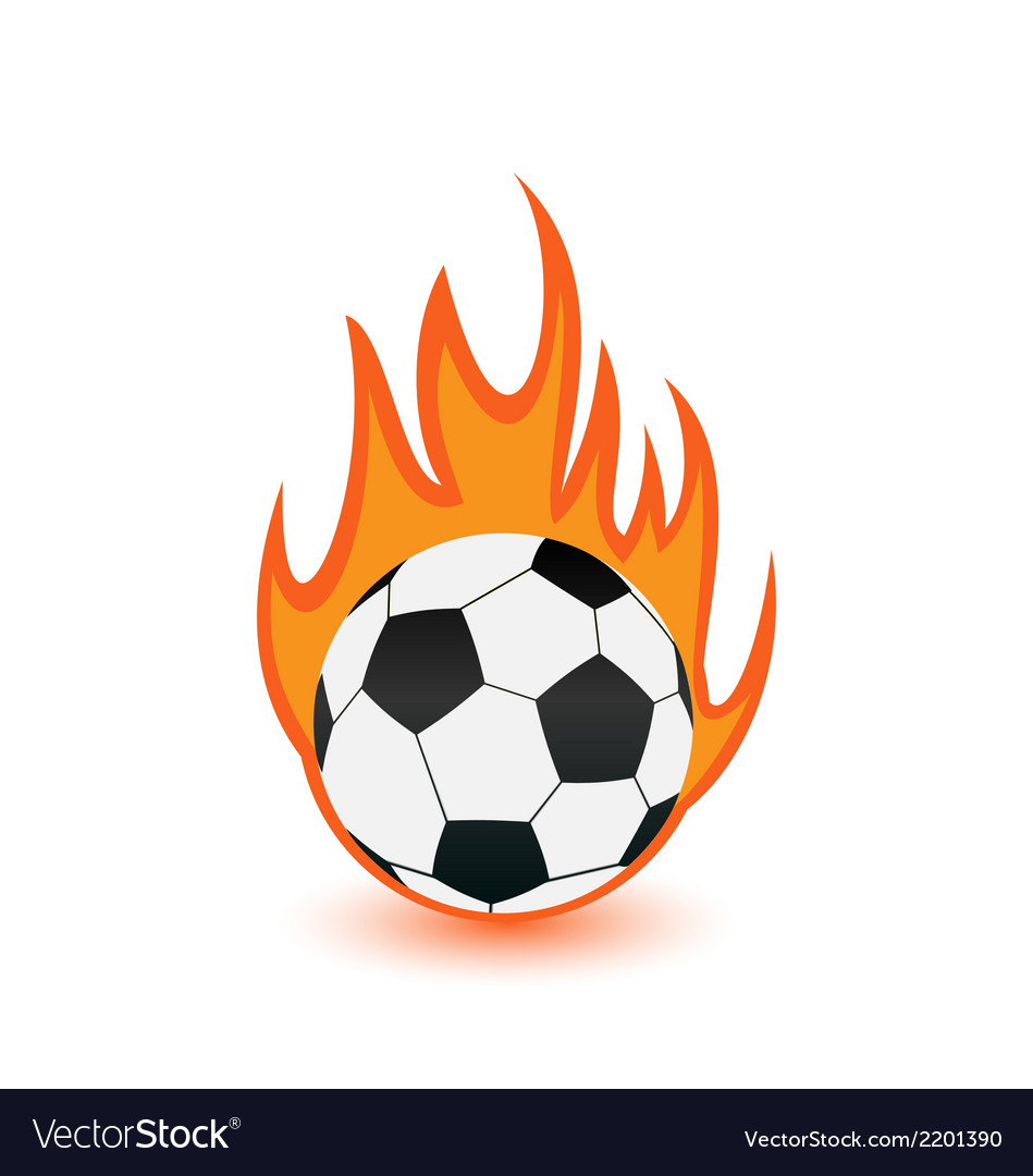 Football balls in orange fire flames vector | Price: 1 Credit (USD $1)