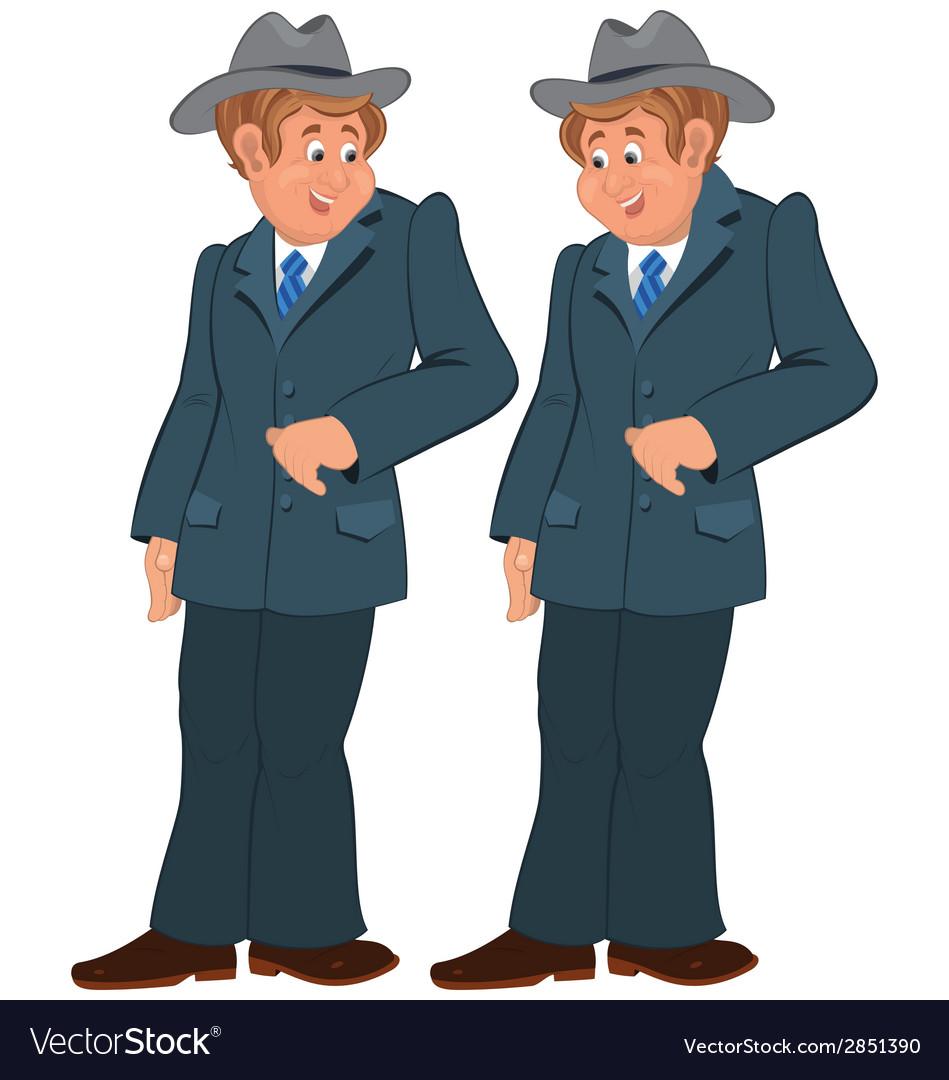 Happy cartoon man standing in gray suite and hat vector   Price: 1 Credit (USD $1)