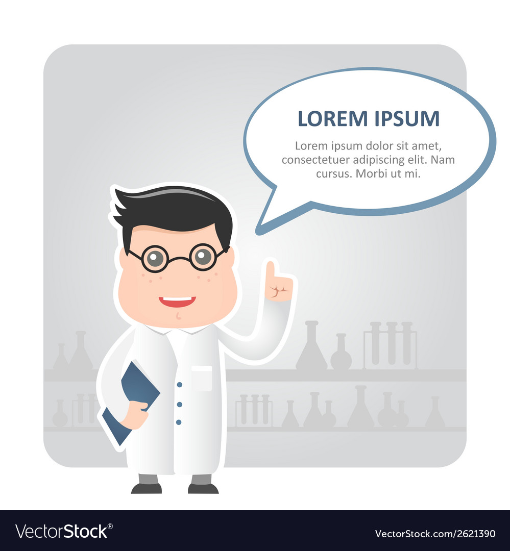 Man chemist and a text bubble vector | Price: 1 Credit (USD $1)