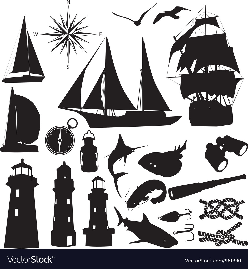 Marine silhouettes vector | Price: 1 Credit (USD $1)