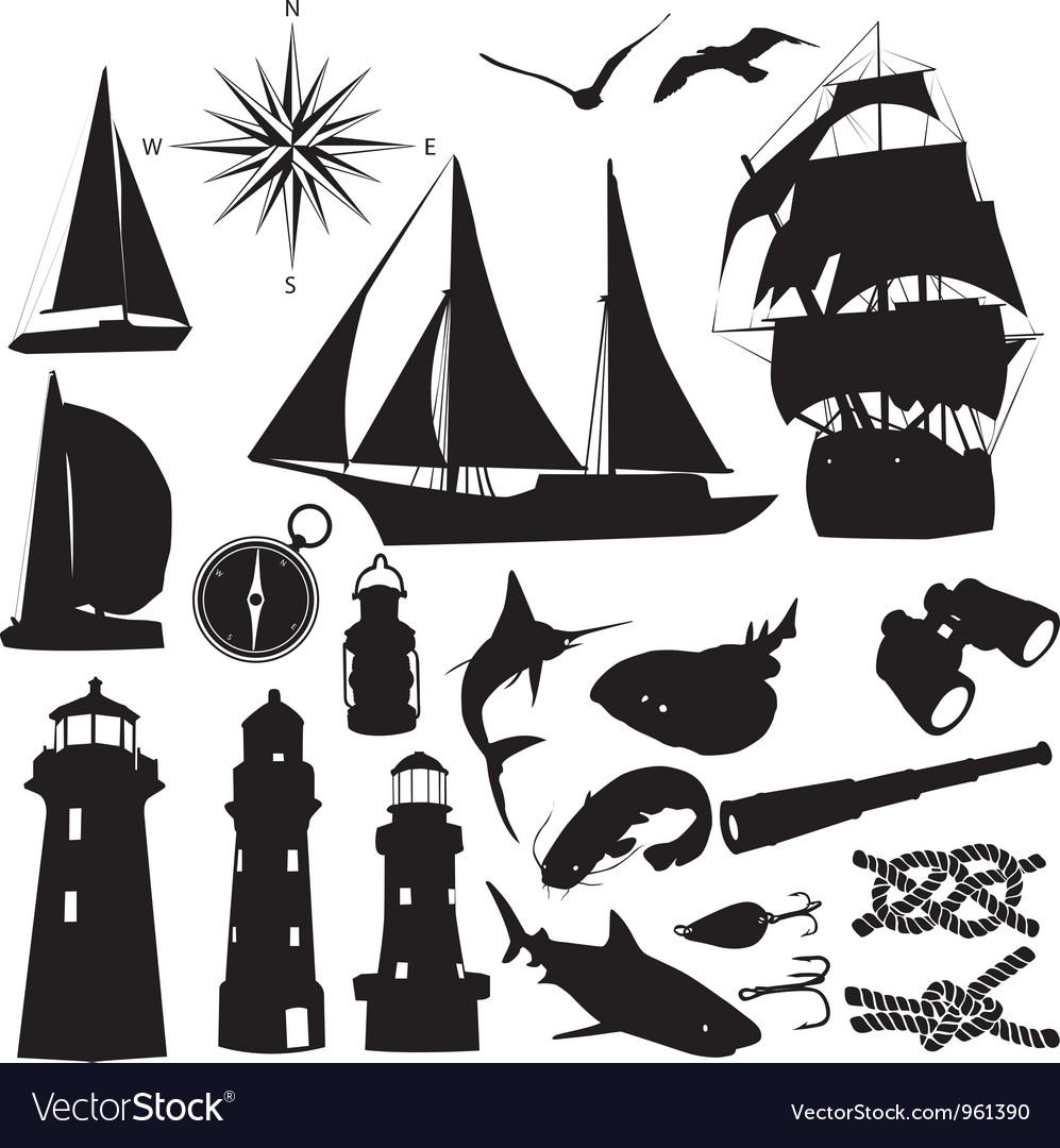 Marine silhouettes vector | Price: 1 Credit (USD $1)
