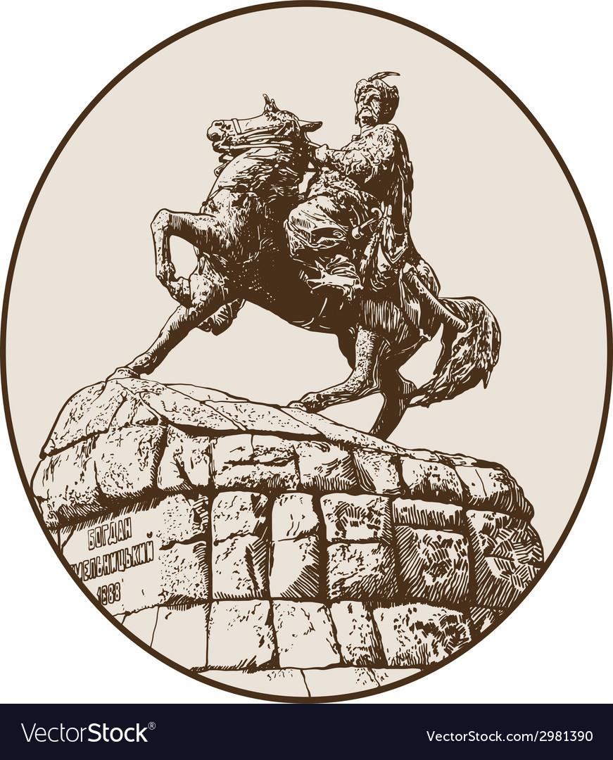Monument of famous ukrainian hetman bogdan vector   Price: 1 Credit (USD $1)