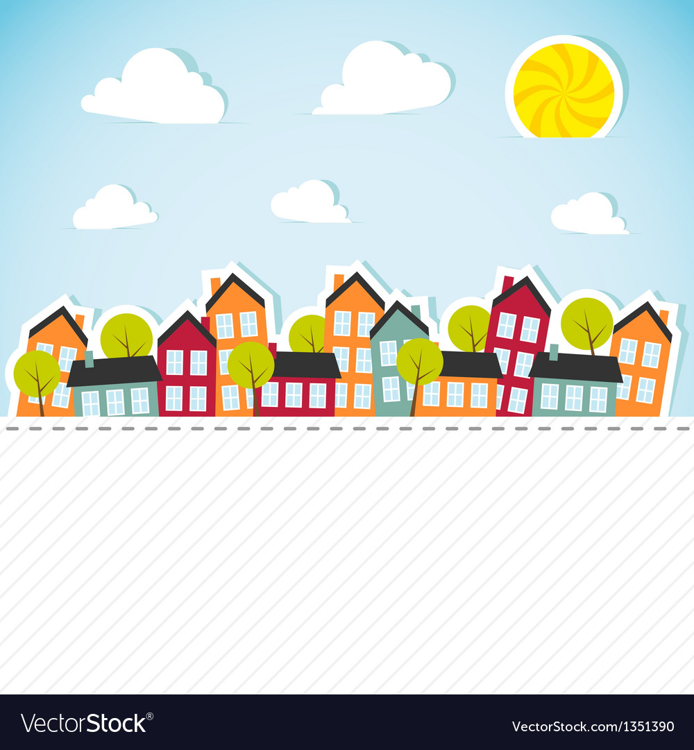 Paper banner with small town vector | Price: 1 Credit (USD $1)