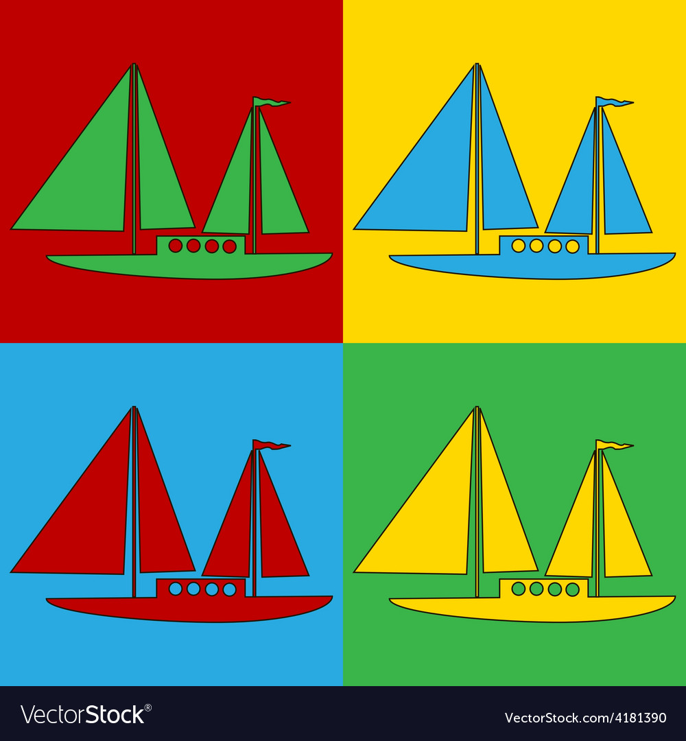 Pop art sailing ship icons vector | Price: 1 Credit (USD $1)